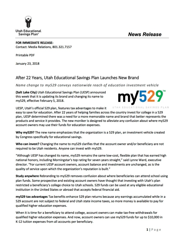 my529 Press Release